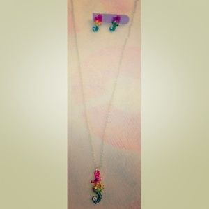 Other - Colorful Short Seahorse Silver necklace/earrings